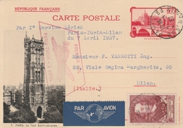 France Entier Postal Illustré 1er Vol Pour L'Italie 1937 - Biglietto Postale