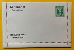 9749 - Carte Lettre Privée Gebrüder Roth Oftringen  5 Ct  Vert  Neuve - Enteros Postales
