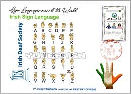 ALGERIA 2019 FDC Sign Language Ireland Handicap Deafness Deaf Taubheit Surdité Taub Sordera Alphabet Disabled - Handicaps