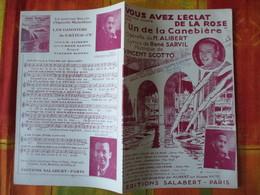 """VOUS AVEZ L'ECLAT DE LA ROSE DANS """"UN DE LA CANEBIERE"""" LYRICS DE RENE SARVIL MUSIQUE DE VINCENT SCOTTO - Spartiti"""
