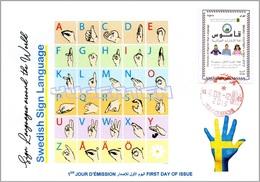 ALGERIA 2019 FDC Sign Language Sweden Handicap Deafness Deaf Taubheit Surdité Taub Sordera Alphabet Disabled - Handicaps