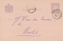 Nederland - 1888 - Kleinrond Treinstempel Utrecht-Leeuwarden/F Op 2,5 Cent Briefkaart Naar Boxtel - Poststempel