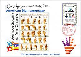 ALGERIA 2019 FDC Sign Language United States Handicap Deafness Deaf Taubheit Surdité Taub Sordera Alphabet Disabled - Handicap