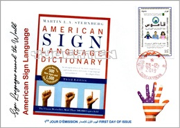 ALGERIA 2019 FDC Sign Language United States Handicap Deafness Deaf Taubheit Surdité Taub Sordera Alphabet Disabled - Handicaps