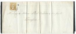 N° 21 BISTRE NAPOLEON / LACAUNE TARN POUR BRASSAC / 1866 / FAIRE PART DE DECES - Poststempel (Briefe)