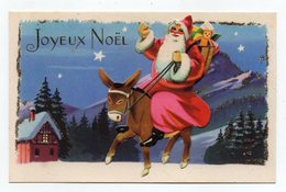 CARTE JOYEUX NOEL - PERE NOEL SUR UN ANE - DECOUPIS - Santa Claus