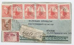 162 - 1938 PERFIN Villa Angela Chaco A Alemania Via Condor Zeppelin Perforado Molinos - Argentina