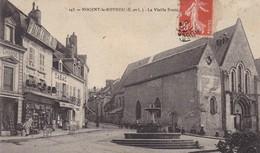 28. NOGENT LE ROTROU. CPA . LA VIEILLE FONTAINE. ANIMATION.  BAZAR DE L'HOTEL DE VILLE . ANNÉE 1908 + TEXTE. - Nogent Le Rotrou