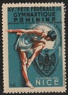 Vignette Erinnophilie Fête Fédérale De Gymnastique Féminine 1934 Nice - Sports