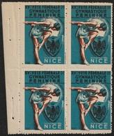 Vignette Erinnophilie Fête Fédérale De Gymnastique Féminine 1934 Nice Bloc De Quatre - Sports