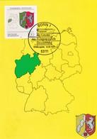 Germany Maximum Card 1993: Coat Of Arms Wappen Nordrhein - Westfalen; Horse Pferd; Map Germany - Heraldik, Wappen