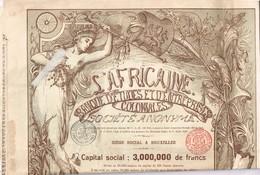 Action Ancienne - L'Africaine - Banque D'Etudes Et D'Entreprises Coloniales - Titre De 1898 - DECO - Rare VF-*** - Africa