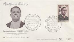 Enveloppe  FDC  1er  Jour   DAHOMEY   1er  Anniversaire  De  L' Indépendance    Président    Hubert   MAGA    1961 - Bénin – Dahomey (1960-...)