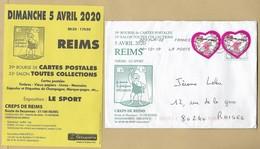 Reims (51) 39e Bourse CP 05-04-2020 Sport Haltérophilie 2scans 18-12-2019 Emanuel Ungaro Coeurs Plan De Ville - Marcophilie (Lettres)