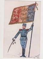 Cpa Signée R.Payonne Avec Reproduction  De Timbres Poste / Officier Avec Sabre Et étendard : L'union Fait La Force - Timbres (représentations)