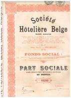 Titre Ancien - Société Hôtelière Belge - Titre De 1928 - - Toerisme