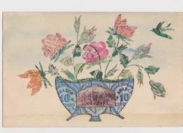 Cpa Fantaisie  Avec Découpis De Timbres Poste / Fleurs , Oiseau - Timbres (représentations)
