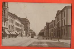MYF-07 Bienne-Biel, Rue Dufour Tramway, Bromure. Cachet Militaire, Circulé En 1918 - BE Berne