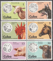 CUBA 1975, FAUNA, DOMESTIC ANIMALS, DOG, COCK, HORSE, SHEEP, PIG, COW, COMPLETE MNH SET, GOOD QUALITY, *** - Kuba