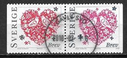 Suède 1998 N°2019/2020 Oblitérés En Paire Saint Valentin - Sweden