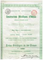 Titre Ancien - Société Anonyme Des Constructions Métalliques D'Odessa - Anciens Ateliers Katz - Titre De 1896 - - Russia
