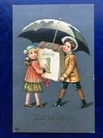 """Cpa--gaufrée-""""Calendrier Du 1 Er Janvier Sous Le Parapluie""""--(my Ref 271) - New Year"""