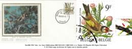 Doc088: COB2190 - FDC Soie Chardonneret /Putter: Timbre 25, Planches BF, Papier Polyvalent - 1985-.. Birds (Buzin)