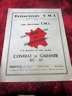 1962 EXTINCTEURS T.M.I. MONTLUÇON ALLIER CONTRAT DE GARANTIE RC - AT DÉPLIANT PUBLICITAIRE DOCUMENT COMMERCIAL VINTAGE - Francia