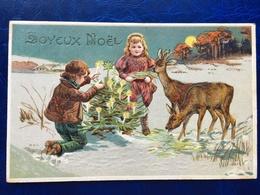 """Cpa--gaufrée-""""Scène De Noël-hiver-chevreuils""""--(my Ref 274)-1909 - Christmas"""