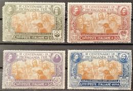 ITALY / ITALIA 1923 - MLH - Sc# 143-146 - III Centenario Di Propaganda Fide - 143 Damaged On Upper Left Corner! - Nuovi