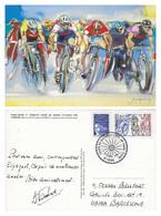 CARTE CYCLISME PARIS TOURS 1999 AVEC TIMBRE DE LA POSTE - Cycling