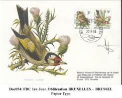 Doc054: COB2189/2190 - FDC Chardonneret /Putter: Timbres En Papier Typo (FDC Signé) - 1985-.. Birds (Buzin)