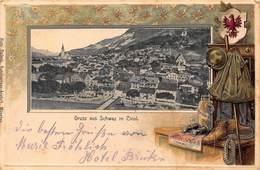 GRUSS Aus SCHWAZ In TIROL AUSTRIA~PANORAMA~EMBOSSED OUTERWEAR FRAMED 1905  HUGO RADECK POSTCARD 42968 - Schwaz