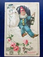 "Cpa--gaufrée-""Arlequin-champagne-bonhomme De Neige""--(my Ref 280)-1914 - Anno Nuovo"