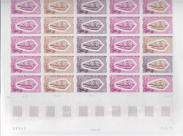 AFARS & ISSAS (1975) Dariconius Textile. Trial Color Proofs In Full Sheet Of 25. Scott No 382, Yvert No 400. - Afars Et Issas (1967-1977)