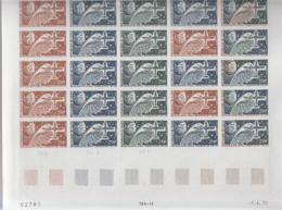 NIGER (1970) Leonardo Da Vinci. Plane. Trial Color Proofs In Full Sheet Of 25. Scott No C126, Yvert No PA126. - Niger (1960-...)