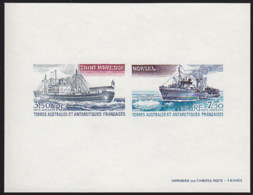 F.S.A.T. (1980) Supply Ship. Icebreaker. Compound Deluxe Sheet. Scott Nos C62-3, Yvert Nos PA63-4. - Sin Dentar, Pruebas De Impresión Y Variedades