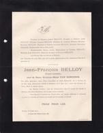 ANVERS EECKEREN BELLOY Jean-François Notaris 1834-1911 Famille VAN DONGHEN EEKEREN Rouwbrief - Overlijden