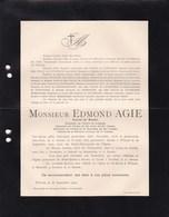 ANVERS AARTSELAAR Edmond AGIE Consul De RUSSIE 1836-1900 Famille LE GRELLE MOLS Della FAILLE Rouwbrief - Décès