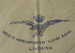 """LIVORNO 1929 -EFFIGE DEL REGIO AEROPORTO """" LUIGI  ZONI """" Di LIVORNO Su LETTERINA VIAGGIATA X MESSINA - 1900-44 Vittorio Emanuele III"""