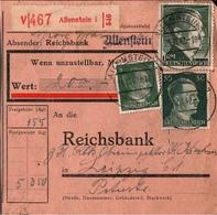 ! 1942 Wertpaketkarte Deutsches Reich, Allenstein, Reichsbank Nach Leipzig - Deutschland