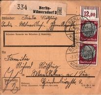 ! 1934 Paketkarte Deutsches Reich, Berlin Wilmersdorf, Bogenrand - Briefe U. Dokumente