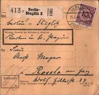! 1934 Paketkarte Deutsches Reich, Berlin Steglitz 3 - Storia Postale