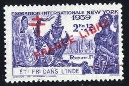 INDE Surcharge »Croix De Lorraine Et FRANCE LIBRE»  Maury  225 II ** Signé - Ungebraucht