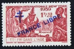 INDE Surcharge »Croix De Lorraine Et FRANCE LIBRE»  Maury  224 II ** Signé - Ungebraucht