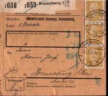 ! 1934 Paketkarte Deutsches Reich, Braunschweig 3 Nach Ronneburg, MeF 80 Pfg. Hindenburg - Briefe U. Dokumente