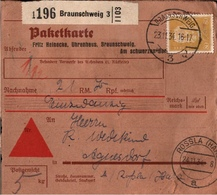 ! 1934 Nachnahme Paketkarte Deutsches Reich, Braunschweig 3 Nach Agnesdorf Bei Rossla, Harz, Uhren - Storia Postale