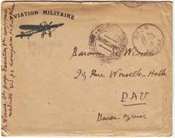 AVIATION MILITAIRE Guerre De 14 Lettre De BRON Rhone , Belle Entete , Texte Du Baron De Wismes - Poststempel (Briefe)