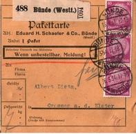 ! 1934 Paketkarte Deutsches Reich, Bünde In Westfalen Nach Crossen, Elster - Briefe U. Dokumente