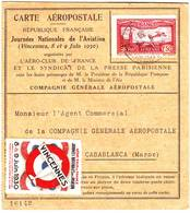 Poste Aerienne N° 5 Obl Vincennes Sur CARTE AEROPOSTALE Pour Le MAROC Et RETOUR 1930 - Poststempel (Briefe)